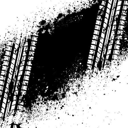 splodge: White tire track on black ink blots Illustration