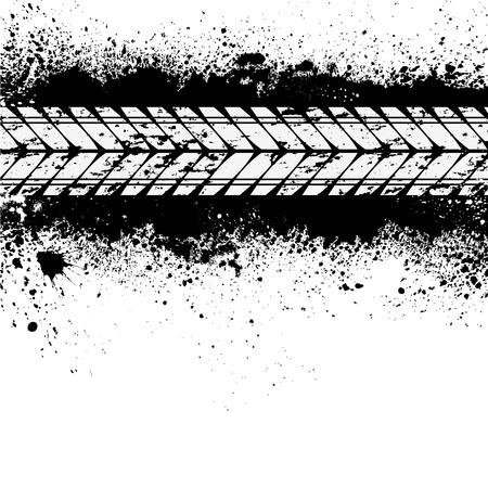 Tire track on ink blots Ilustração
