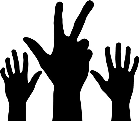 raised hand: Black hands