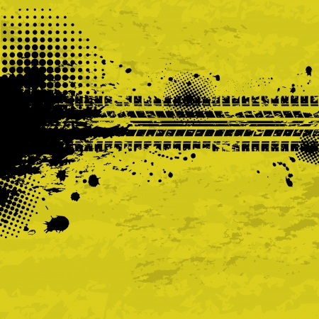 Grunge tire tracks background Vector