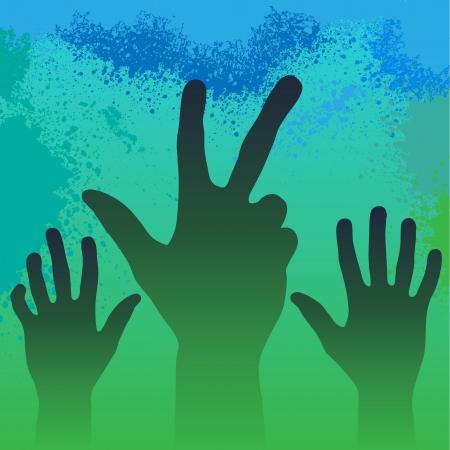 Hands in smoke Stock Vector - 16594901