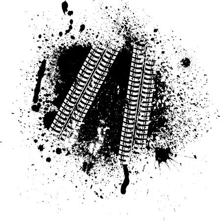 Manchas de tinta y la pista del neumático Ilustración de vector