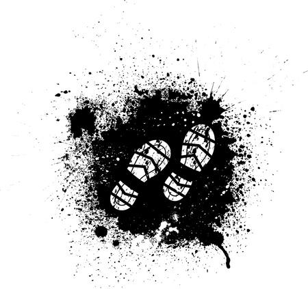Ink blots and footprint Vector