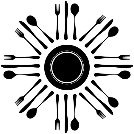 place setting: Cutlery on white