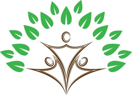 familia unida: Las personas con las hojas
