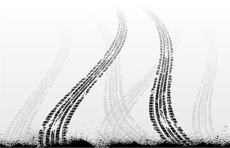 tyre tracks: Huellas de neum�ticos en blanco