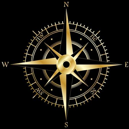 kompassrose: Goldene Windrose Illustration