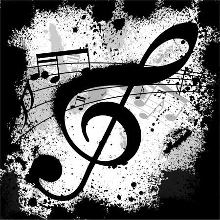 musical notes: Ink blots treble clef