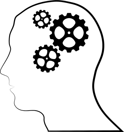 concentration gear: Brain of gears silhouette Illustration