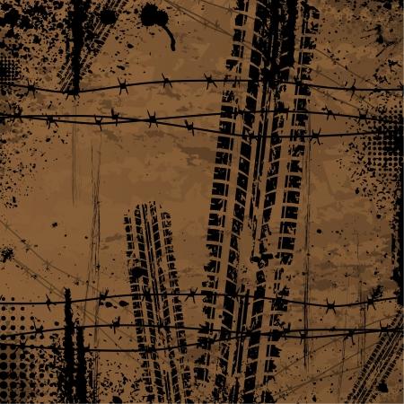mud print: Brown tire track background Illustration