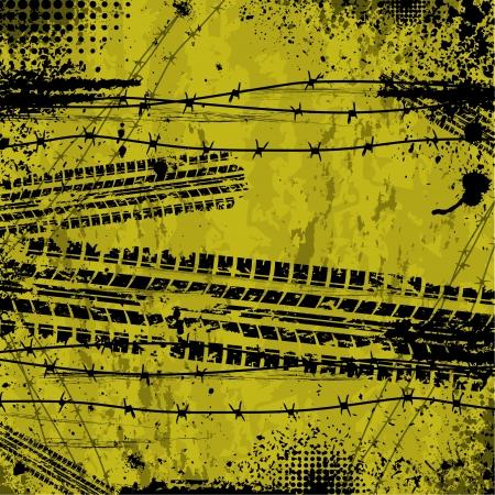 tire tread: Yellow tire track background