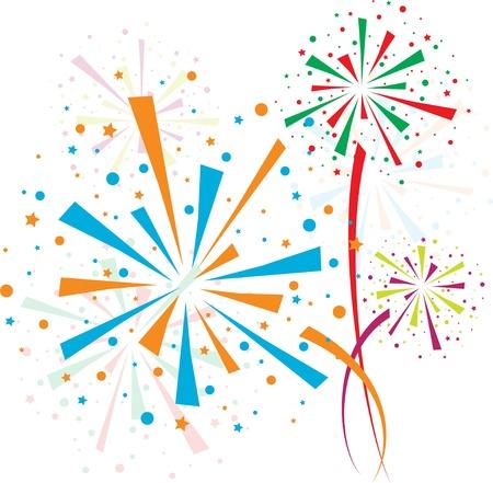 ünneplés: Tűzijáték színes Illusztráció