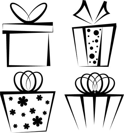 Gift box icon set Illustration