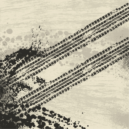 skid: Grunge tire track background Illustration