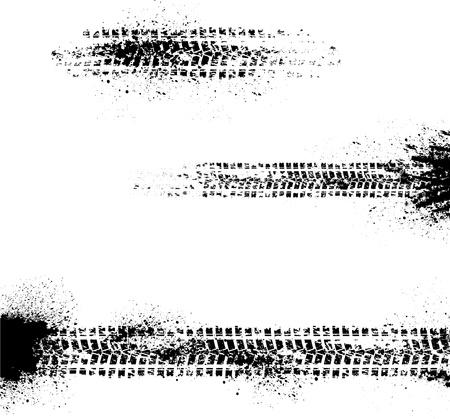 traces pneus: Trois traces de pneus Illustration