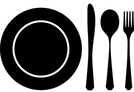 dinner plate: Cutlery black