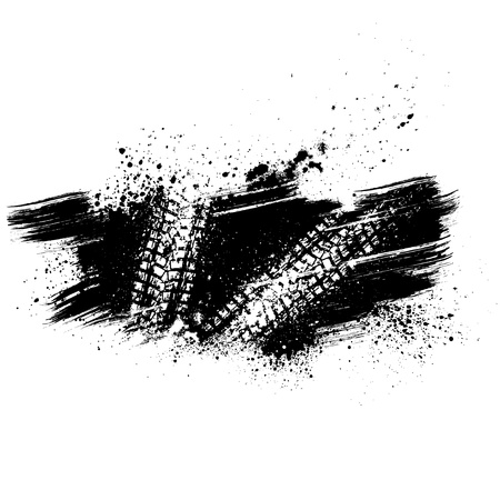 mud: Black tire track background Illustration