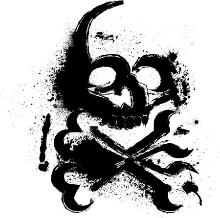 drapeau pirate: Crâne avec des taches d'encre