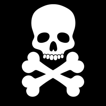 drapeau pirate: Crâne blanc