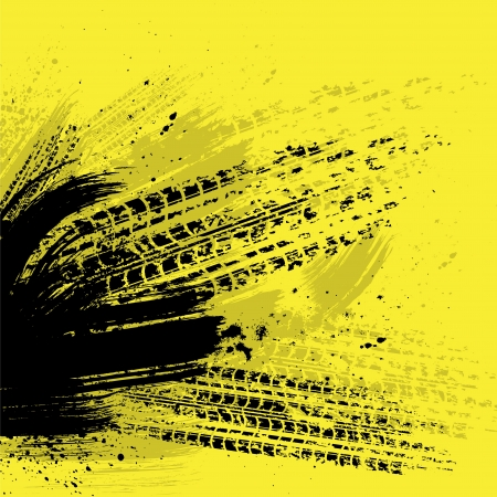 Black tire track on yellow background Vector