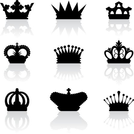 crown silhouette: Re Corona icone Vettoriali