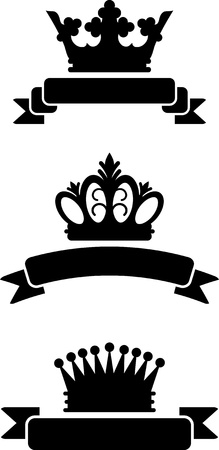 King krowns with ribbons Vector