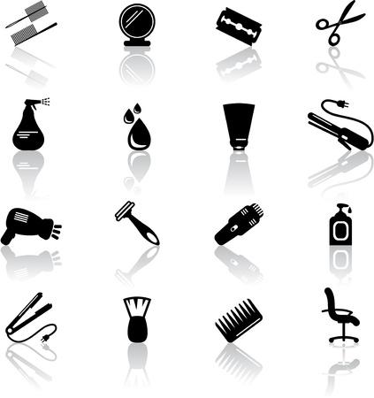 peigne et ciseaux: Ic�nes Salon de coiffure Illustration