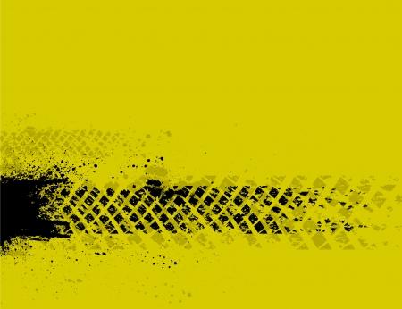 huellas de neumaticos: Fondo amarillo de la pista del neumático