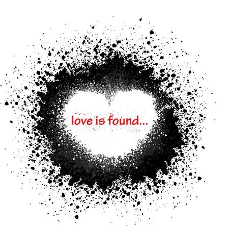 ink splat: Ink blots heart Illustration