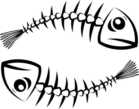 skeleton fish: Fish silhouette Illustration