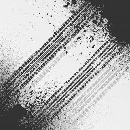 Tire track with splash Illustration