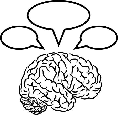 thinking brain: Brain with frames Illustration