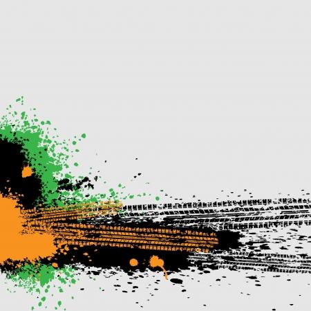 Three color tire track background Illustration