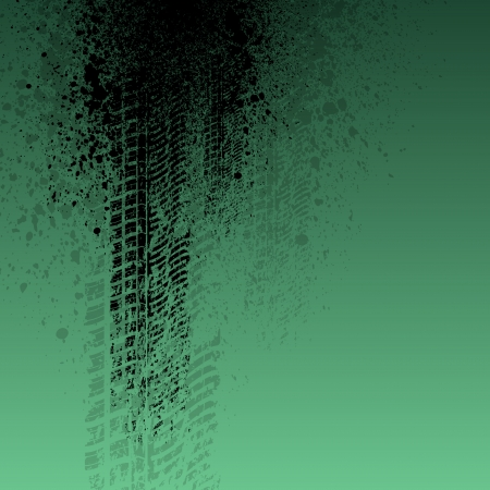 Gren background with tire track and ink splash. eps10 Vector