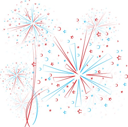 Big red and blue fireworks on white background. eps10 Vector