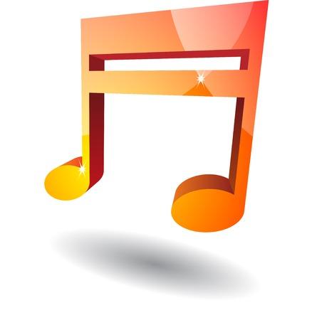 bid�: Bid red music note with shadow. eps10 Illustration
