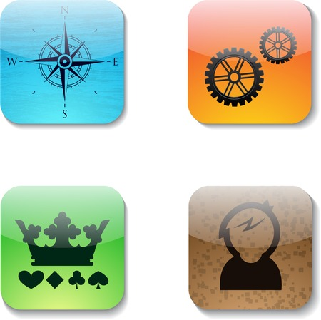 Set of four shine buttons for mobile applications. eps10 Vector