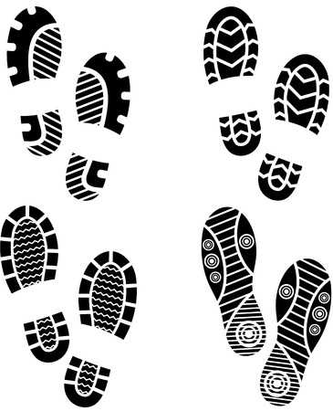 Set of four pairs of shoes print. eps10 Vector