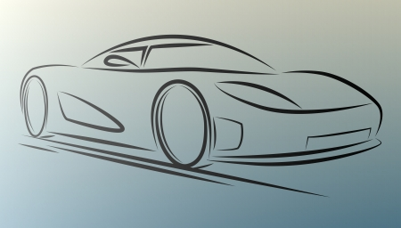spoiler: Abstract  sportcar lines on white background. eps10