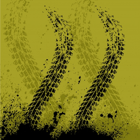 Yellow car tire track background with ink blots. eps10