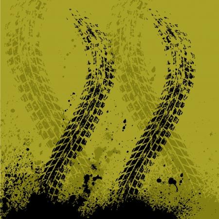 Gelbes Auto Reifen Spur Hintergrund mit Tintenflecken. eps10