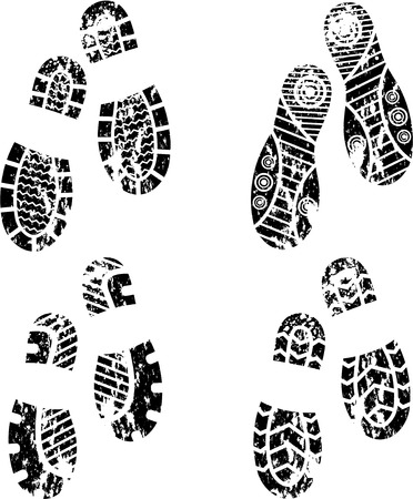 foot prints: Set of four pairs of shoes print. eps10 Illustration