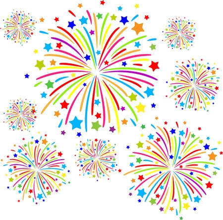 Colorful firework on white background. eps10