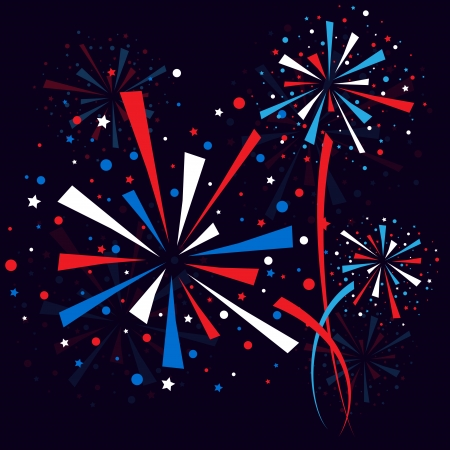 Big red, white and blue fireworks at night. eps10 Vector