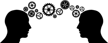 concentration gear: Black silhouette of man head with some gears Illustration