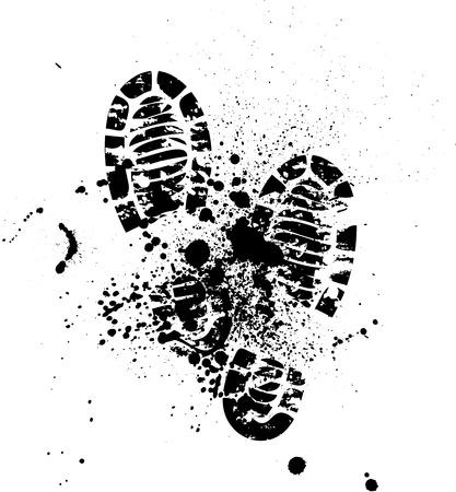 dirty feet: Ensemble de quatre paires de chaussures impression. eps10