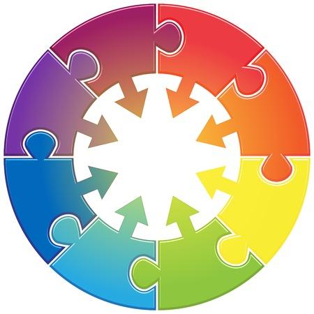 flujo de datos: Tabla redonda con rompecabezas diferentes colores Vectores