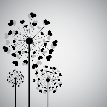 Background with dandelion and hearts. Vector
