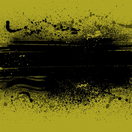spatter: Yellow grunge background with ink blots.