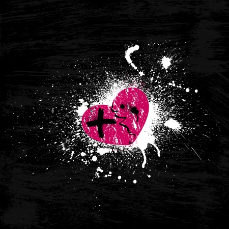 Black background with pink heart. Illustration